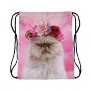Geen Festival tasje persische kat/poes roze print