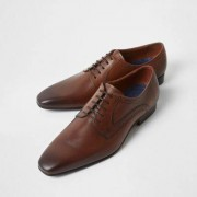 River Island Mens Brown square toe leather derby shoes - Size 44 (EU)