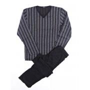 Hom Легкая мужская пижама из тонкого хлопка серого цвета в полоску HOM Lord 04625cZ9