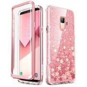 i-BLASON Carcasa para Samsung Galaxy S9, [Protector de visualización Integrado] [Cosmo] Carcasa Protectora de Cuerpo Completo con Purpurina Brillante para Galaxy S9 (versión 2018) (Rosa)