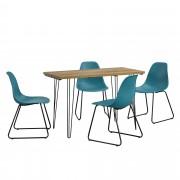 [en.casa]® Mesa de comedor - apariencia de madera + Set de 4 x sillas - turquesa - diseño - 82 x 46,5 x 56 cm