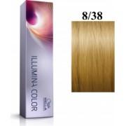Wella Professionals Vopsea permanenta Wella Professionals Illumina Color 8/38 Blond Deschis Auriu Albastru 60ml