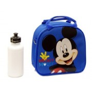 New Disney Mickey Mouse Lunch Box Bag with Shoulder Strap and Water Bottle- Blue