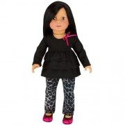 """18 Inch Doll Clothing 2 Pc. Set Fits 18"""" American Girl Doll Clothes & More! (Doll Shoes sold separately) Stylish Gray Animal Print Doll Jeans & Black Ruffled Long Sleeve Tee."""