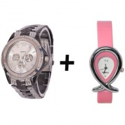 Gtc Combo Of Silver Quartz Analog Watch For Man With Pink Oval Leather Analog Watch For Woman