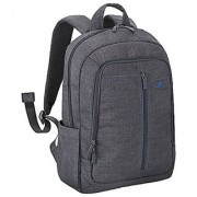 Rivacase Aspen 15.6 Inch Laptop Backpack Slim Light Waterproof Canvas Like Fabric Grey Color