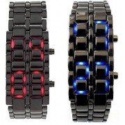 Lava Style Iron Samurai Stainless Steel Bracelet LED Watch RED / BLUE 2 PACK
