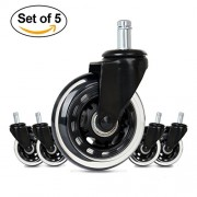 Cusfull Upgrade Version Office Chair Caster Wheels Replacement Standard Size 3-Inch Heavy Duty & Safe for Any Floor (Set of 5)