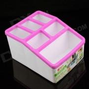 CH8866 Mini caja de almacenamiento de 7 cubiculos de resina PP - Rosa + Blanco