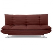 Space Interior Light Brown Color Mushi Fabric 3 Seater Sofa Cum Bed