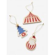 VERTBAUDET Lote de 3 decorações, Circus vermelho medio liso com motivo