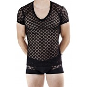 L'Homme Invisible Nightcall V Neck Short Sleeved T Shirt Black MY61D-CAL-001
