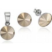 Set Argint 925 placat cu rodiu cu cristale Swarovski Rivoli Metalic Glod 8mm Surub
