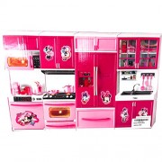 Modern Kitchen Play Set Open Door Music and Lights for Girl