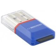 Card Reader ESPERANZA MicroSD- EA134B- lbastru- USB 2.0-(MicroSD Pen Drive)