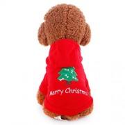 Iuhan Christmas Dog Dress Winter Warmer Pet Costume Pet Dog Fleece Puppy Clothes S Red