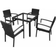 Set mbilier de gradina format din 1 masa si 4 scaune Strend Pro Celinda Brown rattan artificial