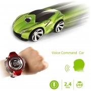 2.4GHz Mini Rc Coche De Control Remoto De Comando De Voz Auto Smart Watch Sports Car Toy (verde)