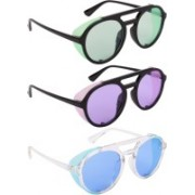 NuVew Round, Shield Sunglasses(Green, Violet, Blue)