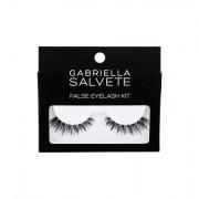 Gabriella Salvete False Eyelashes 1 ks odstín Black sada umělé řasy 1 pár + lepidlo na řasy 1 g pro ženy