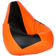 Sicillian Bean Bags Bean Bag - Size Xl - Without Fillers - Cover Only (Black & Orange)