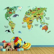 Home Decor Line CR-18301 Adhesivos decorativos para pared, diseño de mapamundi infantil, color verde