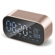 S2 Digital Alarm Clock Radio Wireless Bluetooth Speaker with Dual Alarm & 3.5mm Audio Input - Gold