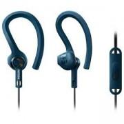 Спортни слушалки с микрофон Philips ActionFit SHQ1405BL, издръжливи на пот и вода, 3.5 mm jack, син цвят