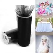 Fashion Tulle Roll 20D Polyester Wedding Birthday Decoration Decorative Crafts Supplies Size: 160cm x 25cm(Black)