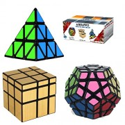 Squaad Magic Cube Set of 3 Popular Cubes bundles- Pyraminx Pyramid 3-d Puzzle cube, Megaminx Cube and Gold Mirror Cube , Black, Great Entertainment For Adults and Kids