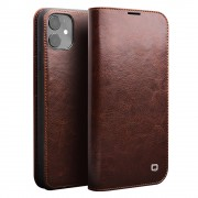 QIALINO Genuine Cowhide Leather Wallet Shell for iPhone 11 6.1 inch (2019) - Brown