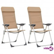 vidaXL Stolice za kampiranje 2 kom krem 58 x 69 x 111 cm aluminijske