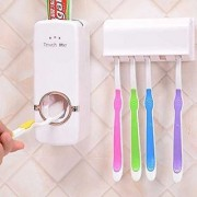 HOMEBASICS Automatic Toothpaste Dispenser With Toothbrush Holder