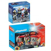 Playmobil City Action Playset Bundle with Take Along Fire Station Playset and Fire Rescue Crew Playset