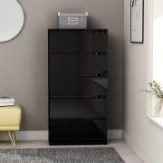 vidaXL Скрин с чекмеджета, черен гланц, 60x35x121 см, ПДЧ