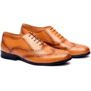 Adam Hoof Mens Tan Color Lace Up Genuine Leather Formal Shoes