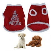 Rrimin Pet Puppy Dog Cotton Soft Clothes Santa Costume Christmas Pet Clothes Coat S