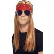 Smiffys Rock pruik met lang haar en accessoires