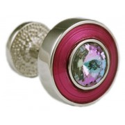 Mousie Bean Crystal Cufflinks Round Polo 004 Pink/Vitrail Light