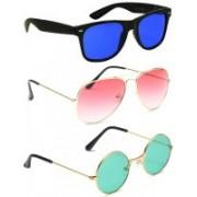 Elligator Aviator, Wayfarer, Round Sunglasses(Blue, Pink, Green)