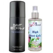 David Beckham The Essence Deodorant Spray 150ml and Pink Root High Street Gals Fragrance body Spray 200ml Pack of 2
