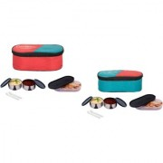 Carrolite Super Black 2 Container + 1 Chapati Tray Lunchbox Red and Green Buy 1 get 1 Free