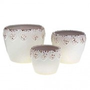 Jogo Vaso de Ceramica Branco Ref-34514-008