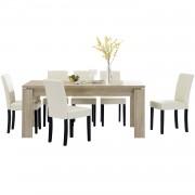 [en.casa]® Jídelní sestava 1 x stůl HTFU2335 + 6 x židle HTMY-9704