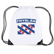 Bellatio Decorations Friesland nylon rugzak wit met Friese vlag