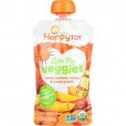 Happy Tot Toodler Food - Organic - Love My Veggies - Carrot Banana Mango and Sweet Potato - 4.22 oz