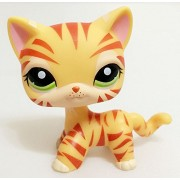 Pet Collection Figure #1451 LPS Hair Standing Cat Tiger Striped Kitty Green Eyes Toy