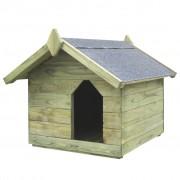 vidaXL Градинска кучешка колиба, отваряем покрив, импрегниран FSC бор