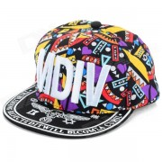 """WB-09241 """"MDiv"""" Patron Hip Hop Estilo Four Seasons Hat - Negro + Multi-Color"""