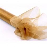 Merkloos Nylon organza stof goud met glitters 36 cm